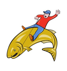 Fisherman Riding Jumping Trout Fish vector