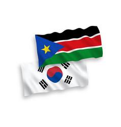 Flags south korea and republic south sudan vector