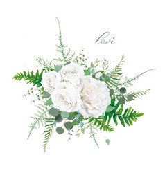 Floral bouquet ivory white rose greenery leaves vector
