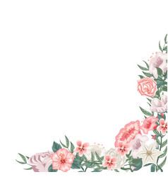 frame of roses tulips and different flowers vector image