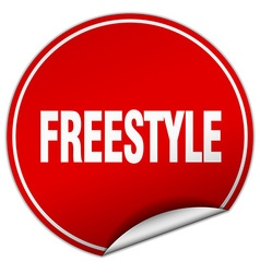 Freestyle round red sticker isolated on white vector