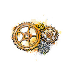 gears from a splash of watercolor vector image