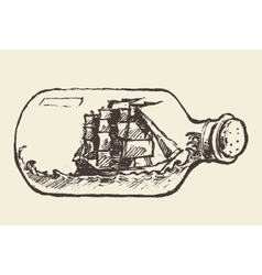 Glass bottle ship inside drawn vector