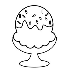 glass ice cream icon outline line style vector image