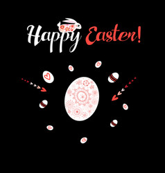 greeting card with ornamental eggs and hares vector image