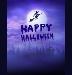halloween creepy forest with bats and full moon vector image