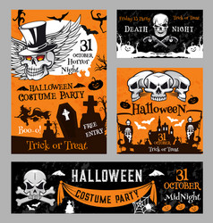 halloween witch skull pumpkin night poster vector image