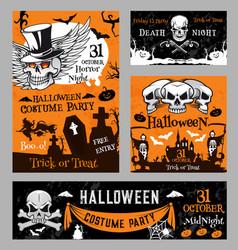Halloween witch skull pumpkin night poster vector