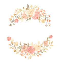 Hand painted pastel watercolor wreath flower vector