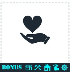 Hands love design icon flat vector image