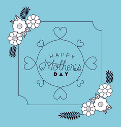 happy mothers day with floral decoration and heart vector image