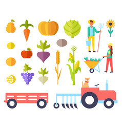 Harvest person and vegetables vector