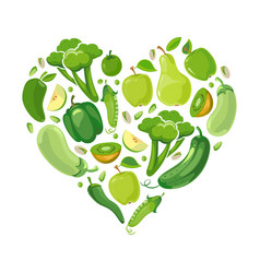 Heart with green vegetabels and fruits vector