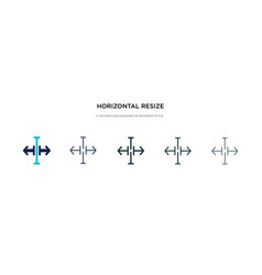 Horizontal resize icon in different style two vector
