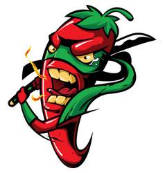 hot red chili pepper ninja vector image