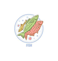 icon a fishes group in circle flat linear style vector image