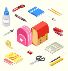 isometric stationeries and vector image