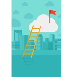 Ladder and flag on top of the cloud on city vector