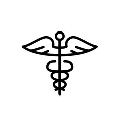 Line caduceus icon on white background vector
