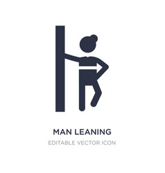 Man leaning against wall icon on white vector