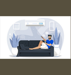 Man relaxing barefoot on a couch at home vector