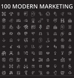 marketing icons editable line icons set on vector image