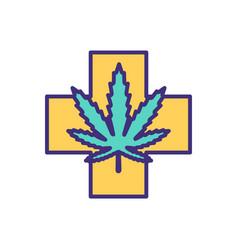 medical marijuana rgb color icon vector image