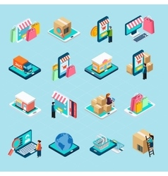 Mobile Shopping Isometric Icons Set vector