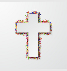 Modern cross with confetti on white vector