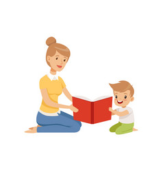 mother reading a book to her little son vector image