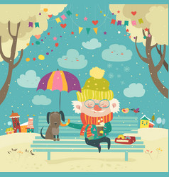 old man with dog under umbrella vector image vector image
