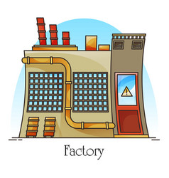 outdoor view on heavy factory industrial building vector image