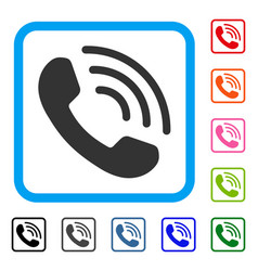 Phone ring framed icon vector