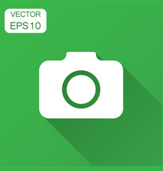 Photo camera icon in flat style photographer cam vector