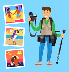 photographer with tripod on background of pictures vector image