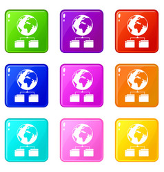 Planet and two folders icons 9 set vector