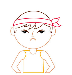 Portrait cartoon angry man chinese with head band vector