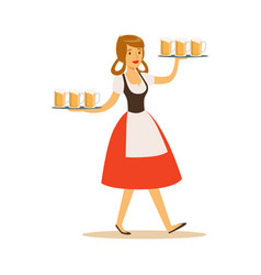 pretty waitress in bavarian traditional costume vector image