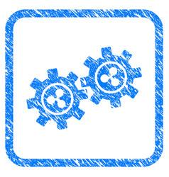 ripple development gears framed stamp vector image