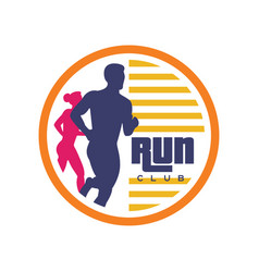run club logo template emblem with abstract vector image