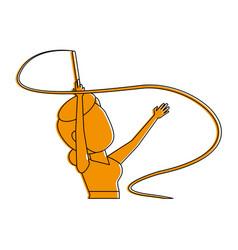 Rythmic gymnast with ribbon athlete sport avatar vector