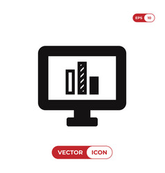 screen icon with line chart sign vector image