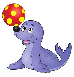 Seal playing with ball theme 1 vector