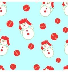Seamless Christmas snowman vector image
