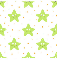 seamless pattern with cartoon starfish on white vector image
