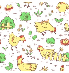 Seamless pattern with doodle cute chickens vector image