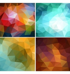 Set four colorful abstract geometric background vector