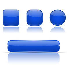 set of blue buttons web shiny 3d icons vector image
