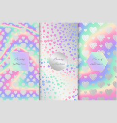 Set of holographic backgrounds with hearts vector