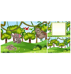 Set of jungle animal scenes vector